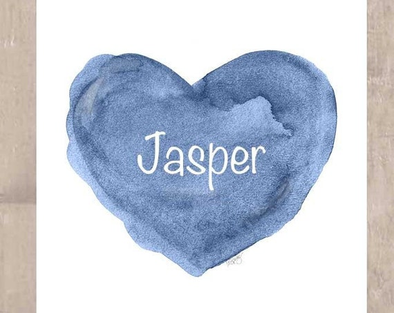 Blue Heart Print for Newborn Boy, 11x14 Personalized