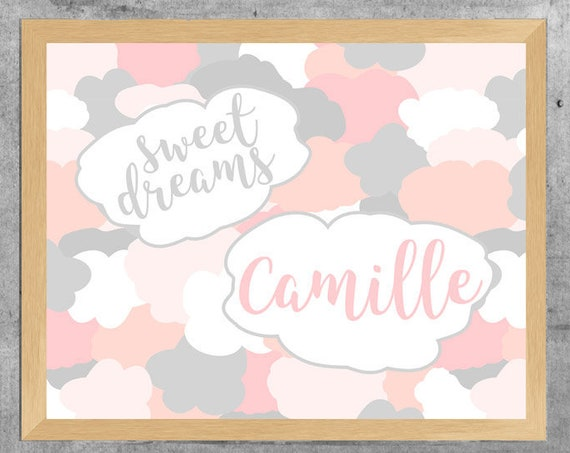 Blush and Gray Cloud Print with Personalized Name, 11x14