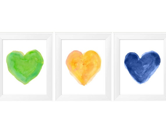 Primary Colors Print Set, 11x14 Set of 3 Watercolor Prints