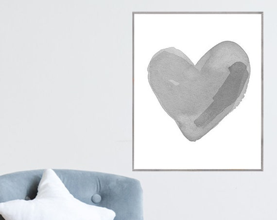 Gender Neutral Poster; Gray Heart in 12x16 or 16x20