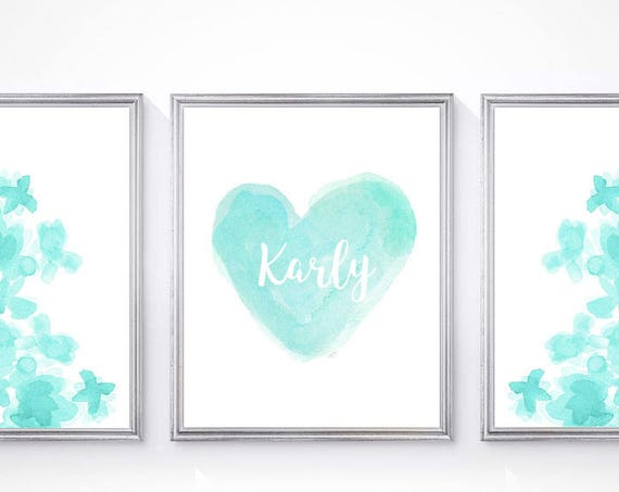 Aqua Girls Room Print Set, Set of 3 Flowers and Heart