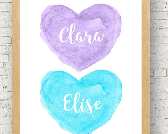 Purple and Turquoise Girls Wall Decor for Sisters, 8x10 Personalized Heart Print