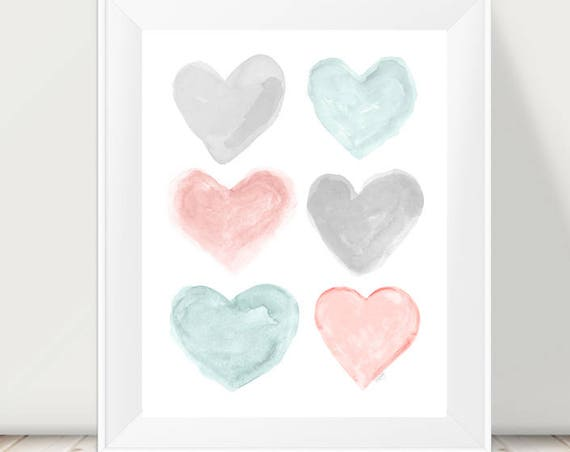 Blush and Teal Baby Nursery Print, 11x14 Hearts