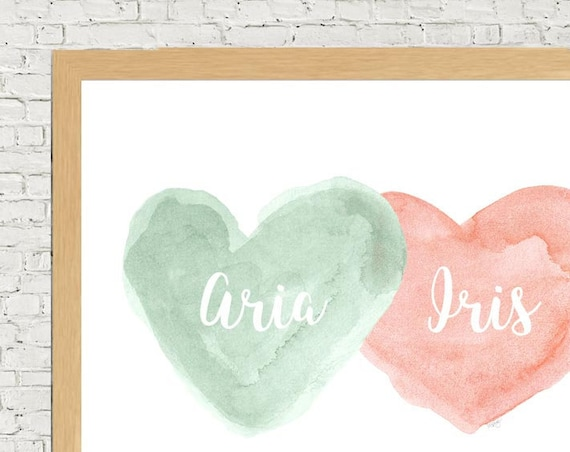 Coral and Mint Nursery Print, 11x14 Personalized
