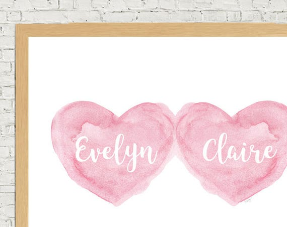 Twin Girls Gift, 11x14 Personalized Art Print