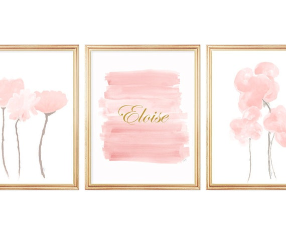 Blush Flowers Artwork, Set of 3- 11x14 Personalized Prints for Baby Room