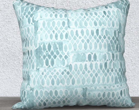 Aqua Pillow Case in Velveteen