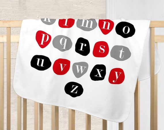 Red and Gray Baby Blanket, New Baby Boy Blanket, Boy's Baby Blanket, ABC Blanket, Red and Black Nursery, Infant Blanket, New Boy Gift