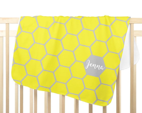 Modern Receiving Blanket in Yellow and Gray