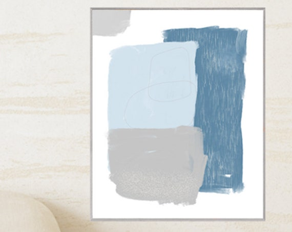 Blue and Gray Abstract Art, 16x20 Print