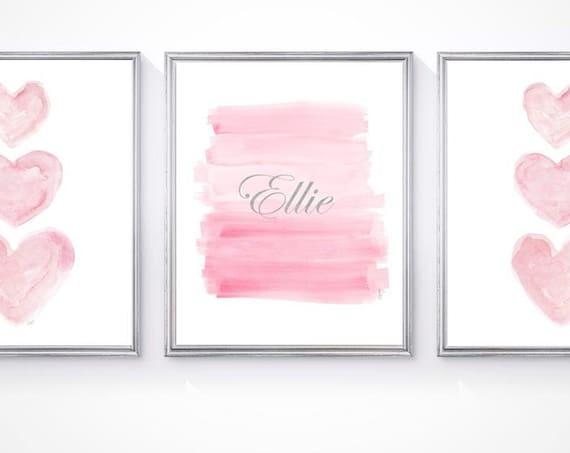 Pink and Silver Nursery Prints with Custom Name, Set of 3 - 8x10 Watercolors