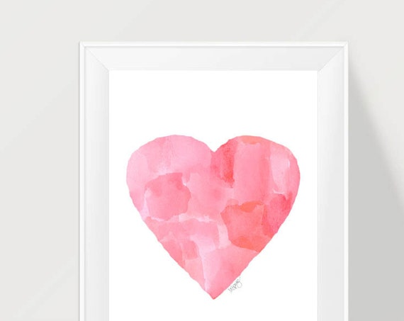 Abstract Nursery Art, in Hot Pink, 11x14 Watercolor Print
