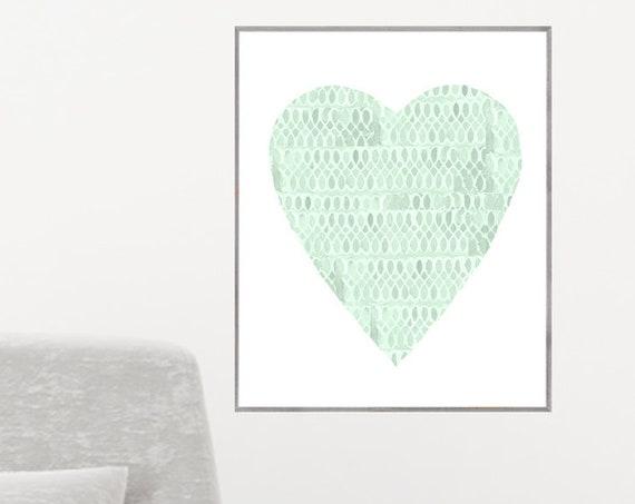 Sage Green Nursery, 12x16, 16x20 Heart Poster