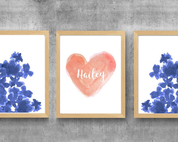 Coral and Navy Girls Room, 11x14 Set of 3 Personalized Prints