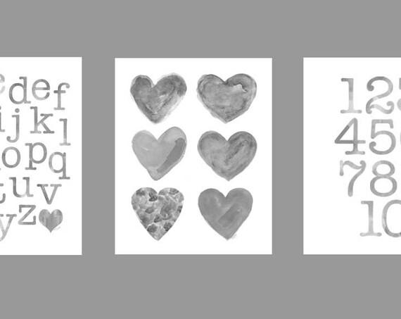Gender Neutral Nursery Art, Gray ABC 123, Set of 3-8x10 Prints, Toddler Decor, Alphabet Print, Alphabet Art, Gray Nursery Art, Playroom Art