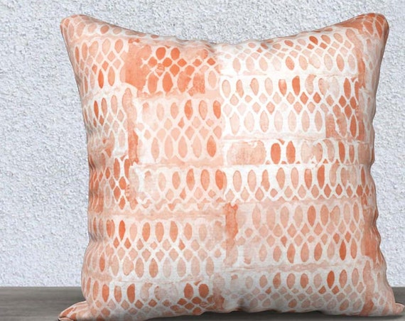 Coral Velvet Throw Pillow with Lace Pattern