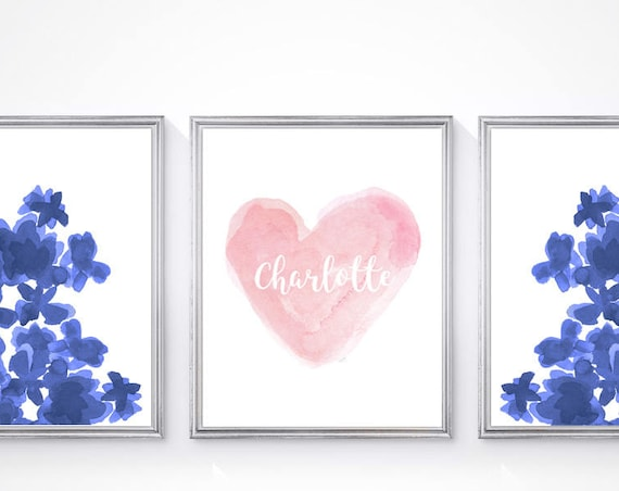 Pink and Navy Girls Room, Set of 3-8x10 Pink & Navy Prints