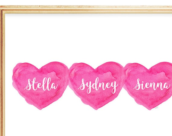 Girl Triplets Nursery Art Personalized with Names, 8x10 Pink