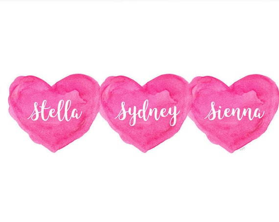 Girl Triplets Gift, Personalized Print with Names, 8x10