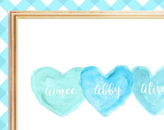 Turquoise Nursery Art for Triplets, 8x10 Personalized Heart Print
