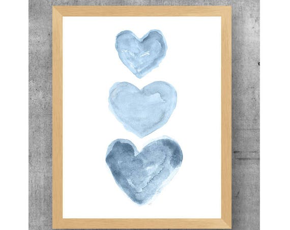 Denim Blue Hearts Nursery Print, 11x14