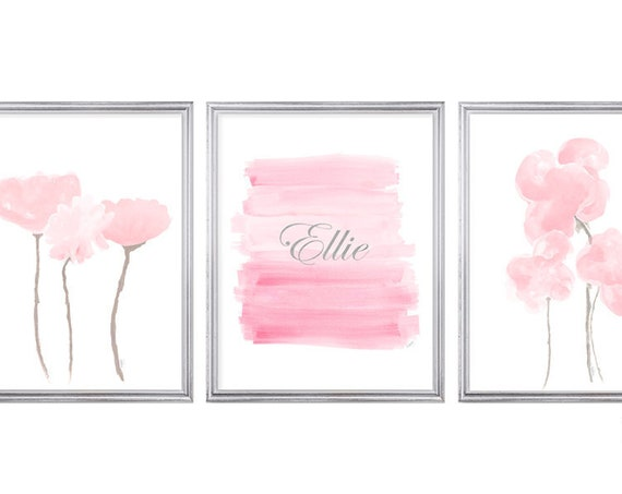 Pink Watercolor Flowers, Set of 3- 8x10 Personalized Baby Girl Wall Art Prints