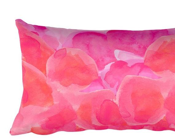 Hot Pink Abstract Pillow, 12x20 Lumbar Pillow