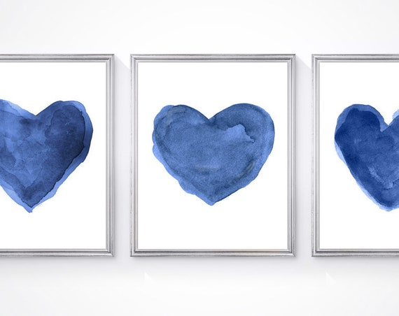 Navy Heart Prints, Set of 3 - 8x10 Unisex Watercolors