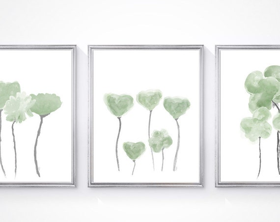 Sage Green Flower Prints, 8x10- Set of 3 Watercolor Prints