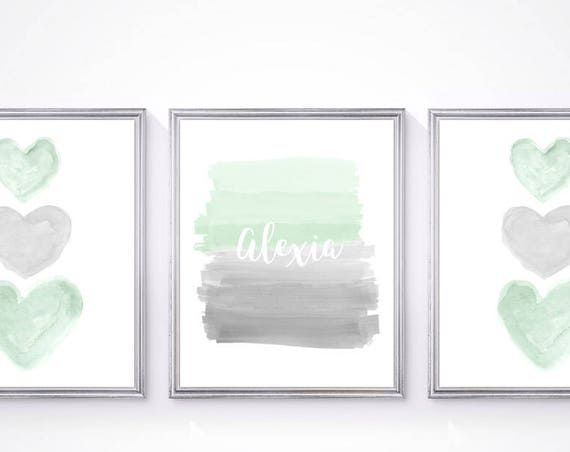 Mint and Gray Nursery Prints for Sister and Brother, Set of 3- 8x10