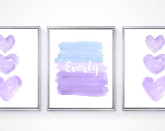 Purple and Blue Nursery Artwork, 11x14 Print Sets