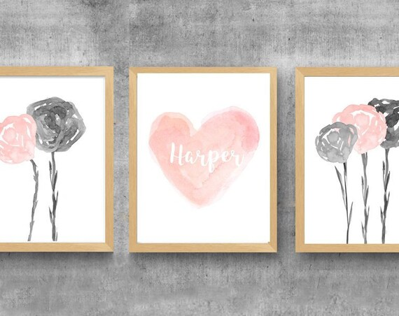 Blush and Gray Girls Prints, Set of 3-11x14 Watercolor Flower and Heart Prints