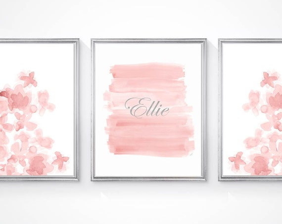 Blush Flowers Nursery Wall Art Set, Set of 3- 8x10 Personalized Prints with Silver Name