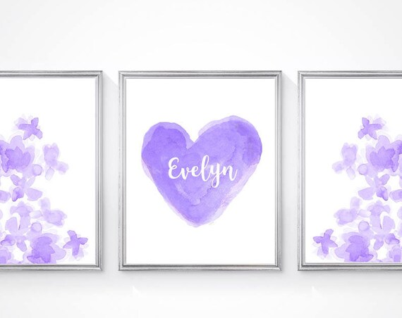 Purple Flower and Heart Prints for Girls Room, Set of 3- 8x10