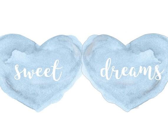 Sweet Dreams Print for Boy, Baby Boy Gift, Boys Nursery Art, Blue Nursery Art, New Baby Boy Gift, Baby Boy Nursery, Bonne Nuit, Nursery Gift
