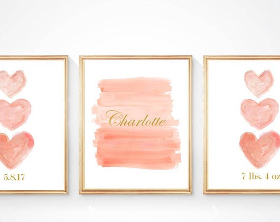 Custom Baby Prints, Coral Prints Personalized Birth Stats, Set of 3- 8x10
