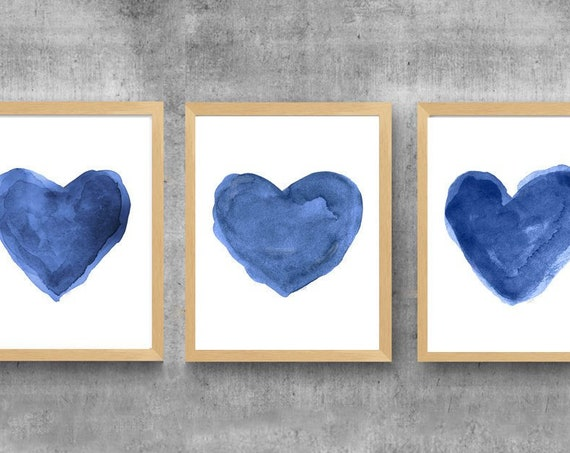 Navy Hearts Print Set, Set of 3-11x14