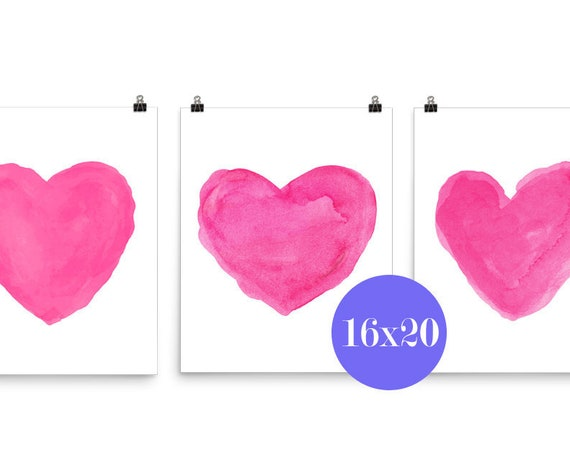 Hot Pink Heart Posters, 16x20 Set of 3