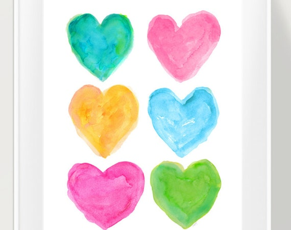 Preppy Wall Decor, 11x14 Watercolor Hearts Art print