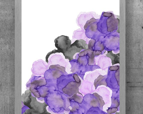 Purple and Black Wall Decor, 11x14 Flower Print