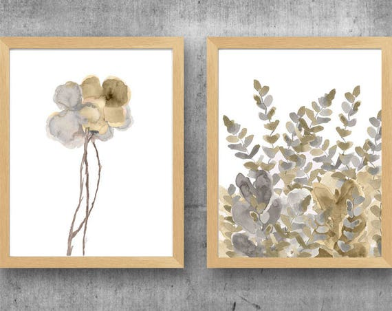 Gold and Silver Wall Decor, Set of 2-11x14 Watercolor Flower Prints