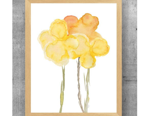 Yellow Flower Watercolor Print, 11x14