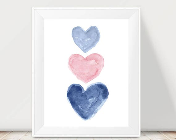 Pink and Navy Children's Wall Decor, 11x14 Triple Hearts Print