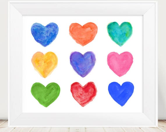 Kids Playroom Print, 11x14, Rainbow Hearts