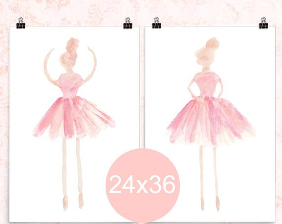 Ballerina Posters in Pink, 24x36 Set of 2