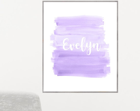 Lavender Poster for Girl with Custom Name in 18 Colors, 12x16, 16x20