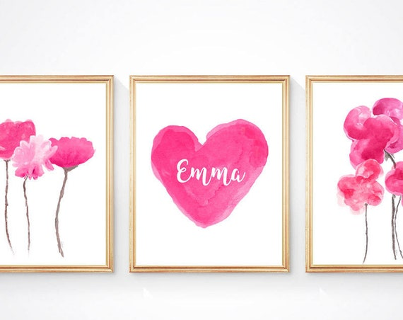 Hot Pink Flowers and Heart Prints, 8x10-Set of 3