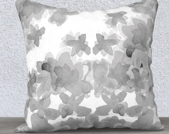 "Gray Floral Pillow Case in Velveteen, 14""x20"" 18""x18"", 22""x22"""