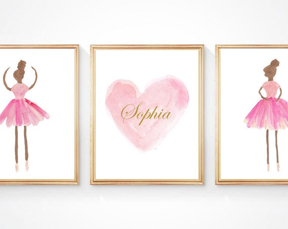 Dark Skin Ballerina Gift, Set of 3 Personalized Prints in Pink