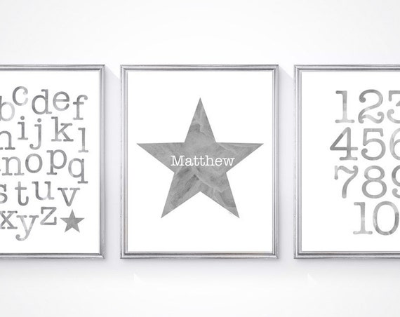 Boys Gray Nursery Prints, Set of 3-8x10 ABC 123 and Personalized Star Print